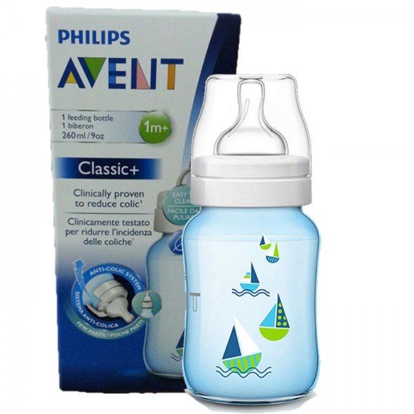 Philips Avent Classic+ Bottle 260ml Blue Boats
