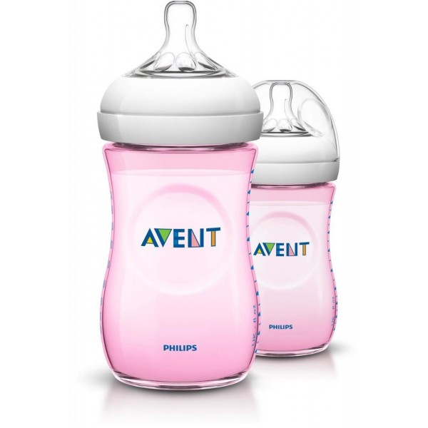 Philips Avent Natural Twin 260ml/9oz Pink