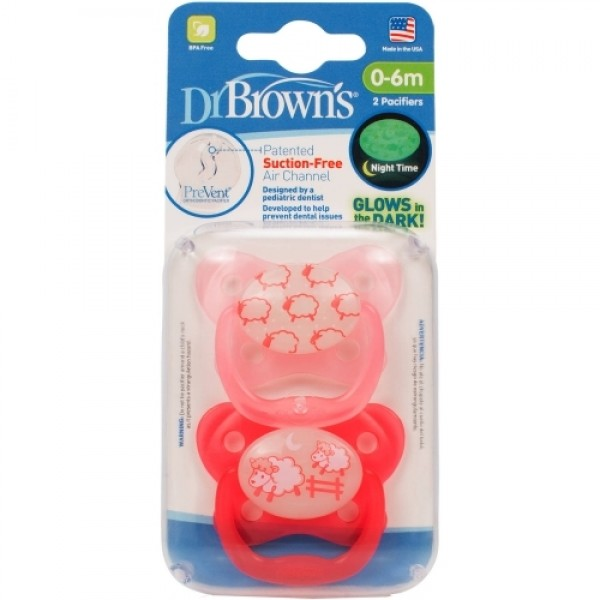 Dr. Browns 2 Pacifier 0-6m Pink