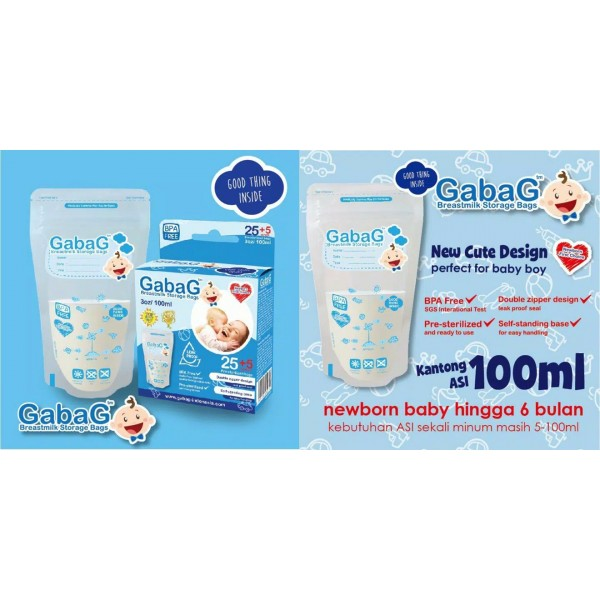 Gabag Breastmilk Storage Bags Blue 100ml
