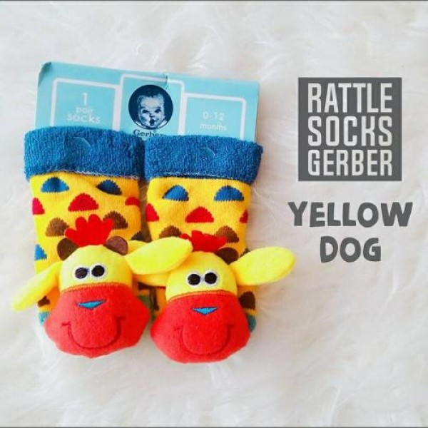 Gerber Rattle Socks 3D Yellow Dog