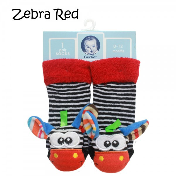 Gerber Rattle Socks 3D Zebra Red