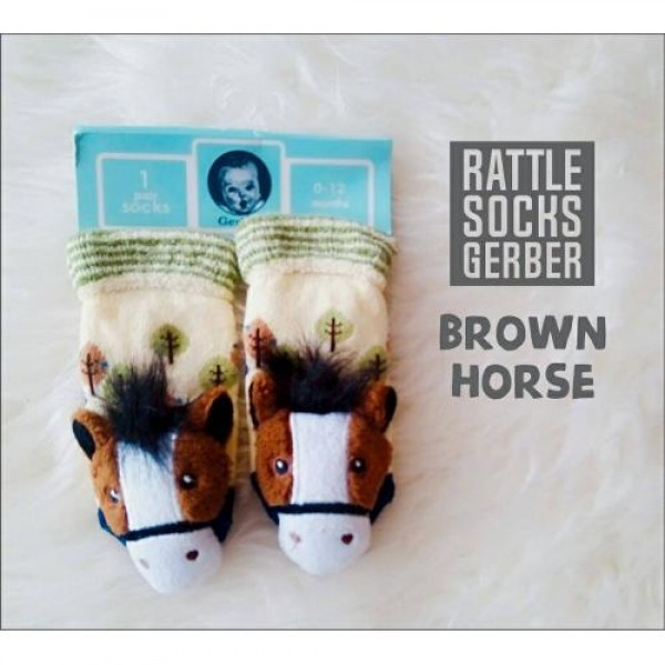 Gerber Rattle Socks 3D Brown Horse