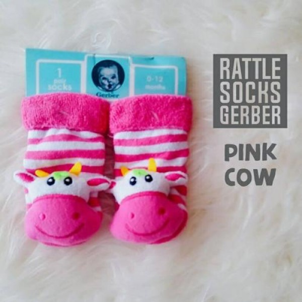 Gerber Rattle Socks 3D Pink Cow
