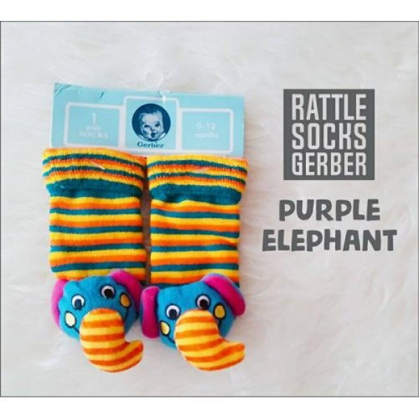 Gerber Rattle Socks 3D Purple Elephant