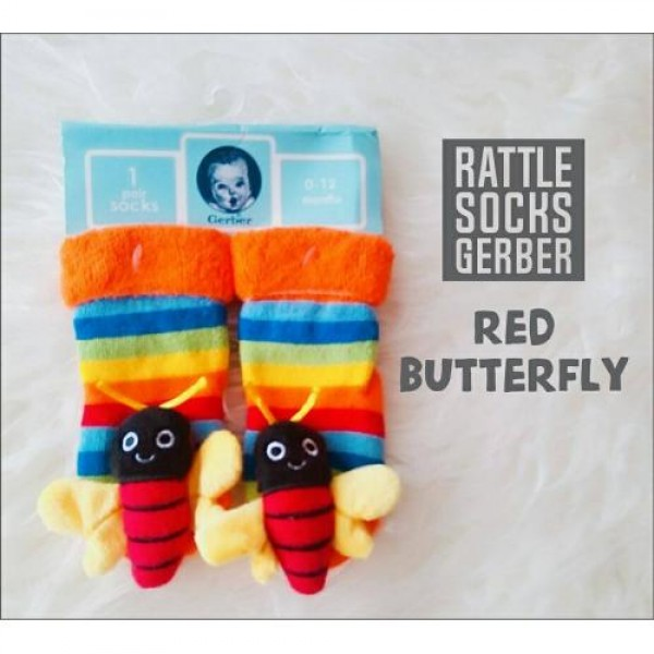 Gerber Rattle Socks 3D Red Butterfly