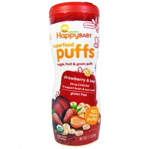 Happy Baby Organic Puffs - Strawberry & Beet