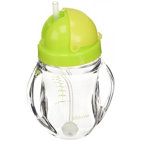 Kidsme Tritan Training Cup With Weighted Straw 240ml Lime Green