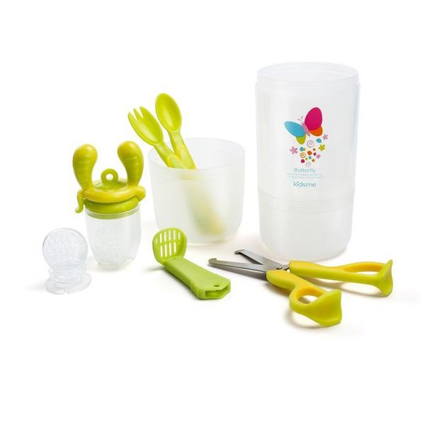 Kidsme baby travel easy set with food container Lime