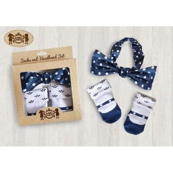 Petite Mimi - Sock & Headband Set Polka Navy