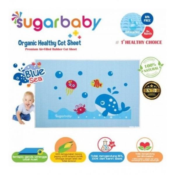 Sugar Baby Premium Organic Rubber Cot Sheet Blue Sea