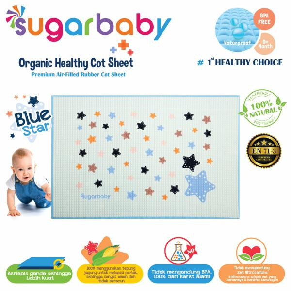Sugar Baby Premium Organic Rubber Cot Sheet Blue Star