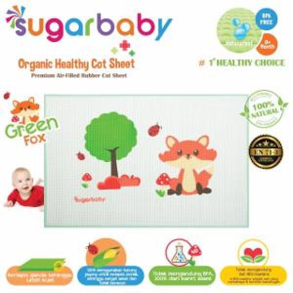 Sugar Baby Premium Organic Rubber Cot Sheet Green Fox