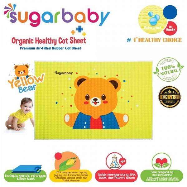 Sugar Baby Premium Organic Rubber Cot Sheet Yellow Bear