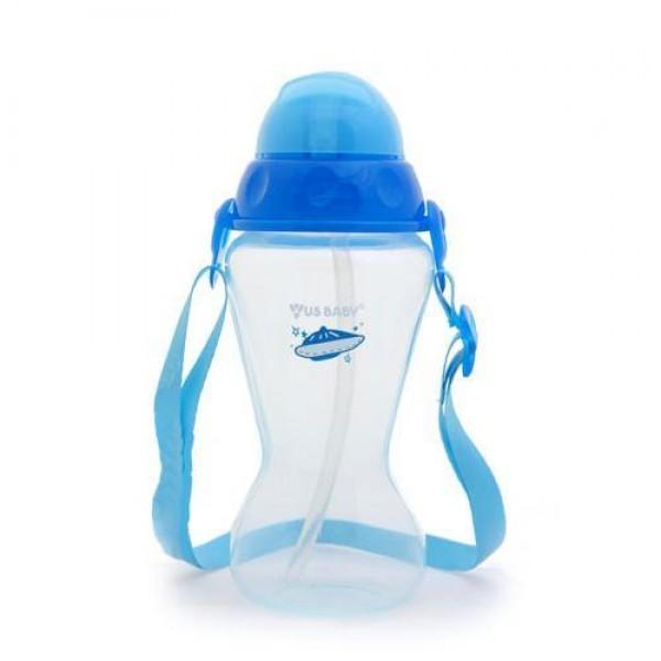 Us Baby Active Straw Bottle Blue - 410 ml